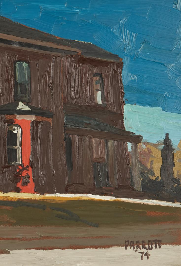 Lot 355: Joe Parrott Oil on Board Street Scene
