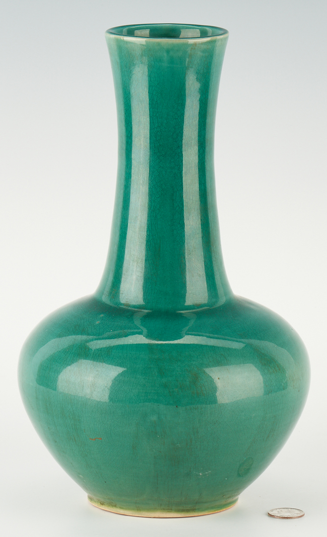 Lot 35: Chinese Monochromatic Green Porcelain Bottle Vase