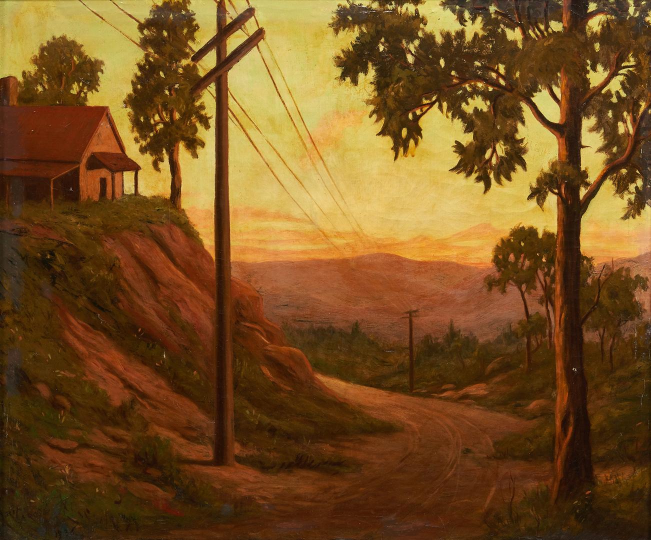 Lot 362: Margit Varga O/C Landscape Painting, Telephone Poles in NC