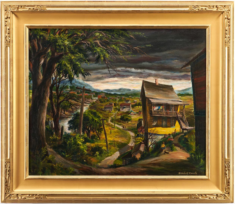 Lot 363: Nicholas Comito O/C Exhibited Landscape, House on Hill