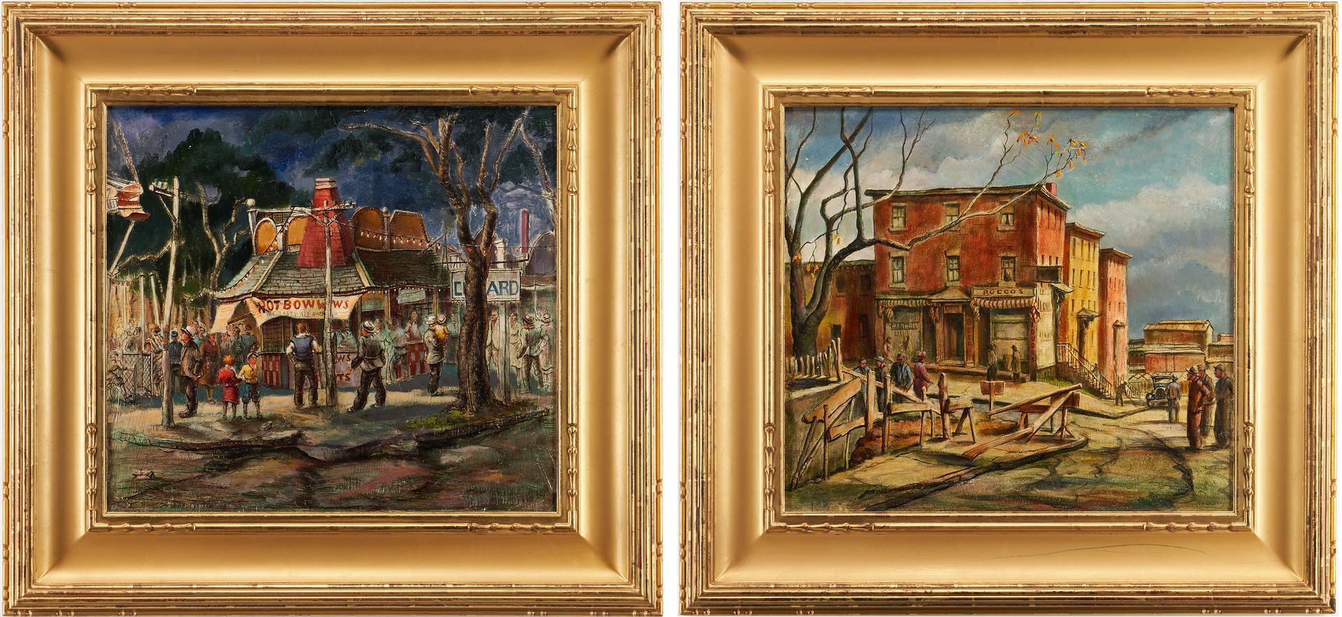 Lot 368: Two (2) WPA O/B Paintings, Attr. Jean Hogan