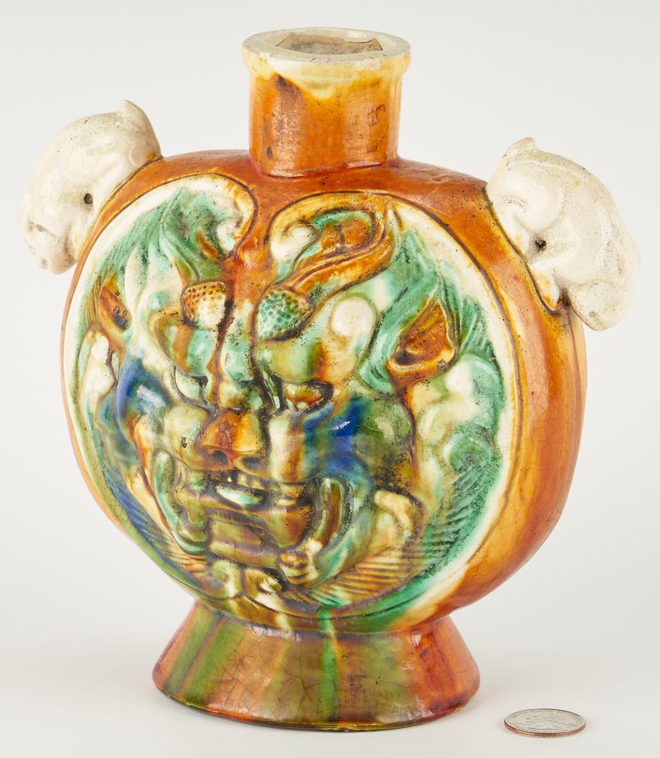 Lot 36: Chinese Sancai Glazed and Molded Flask