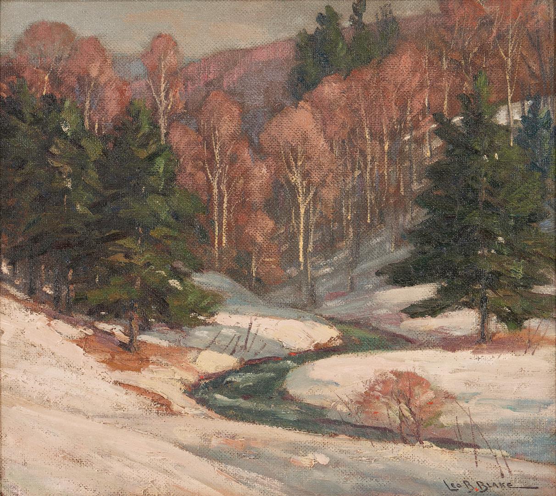 Lot 370: Leo Blake O/B Painting, Winter Landscape
