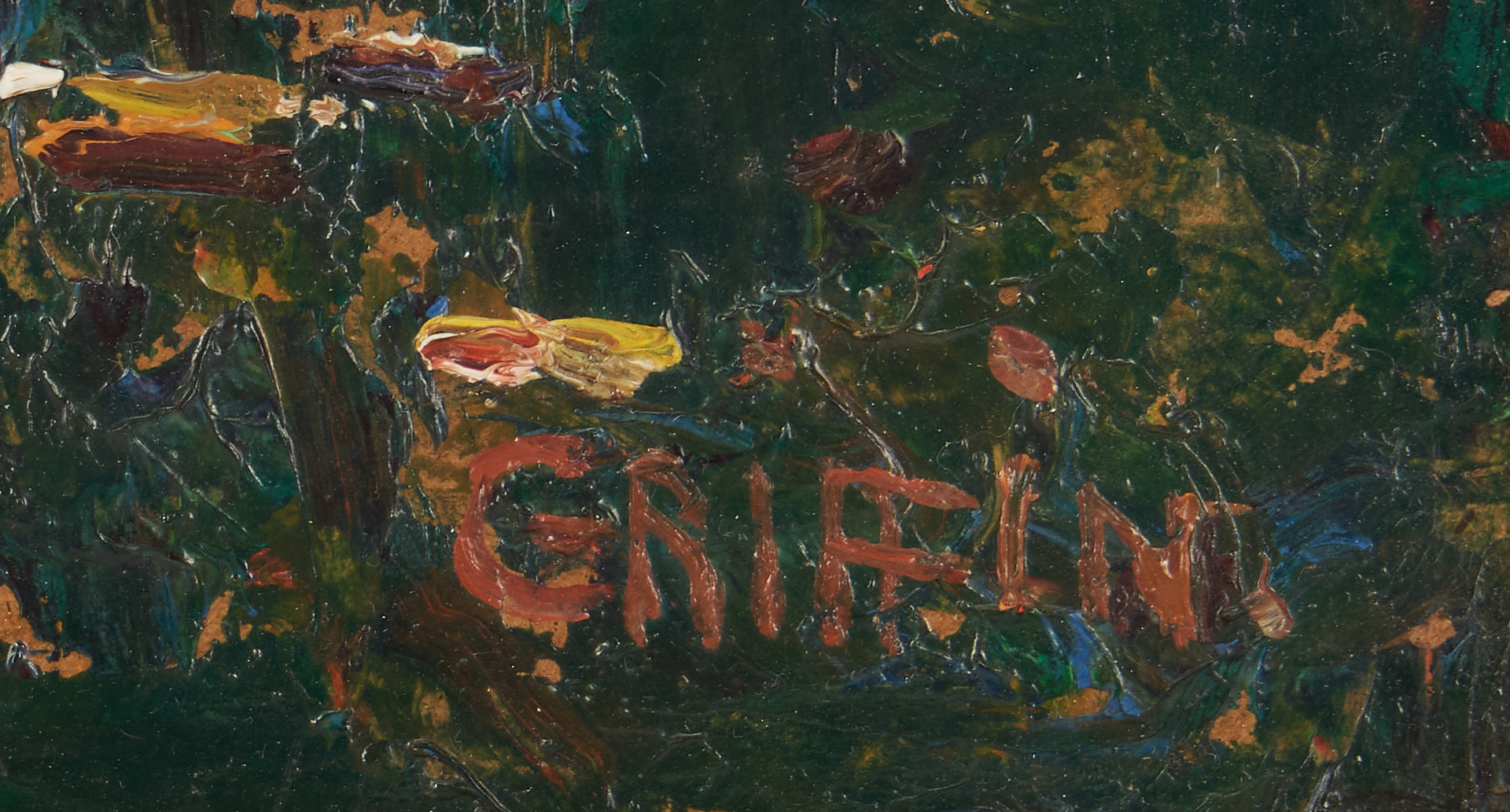 Lot 371: Walter Griffin O/B Landscape Painting, Public Gardens at Nimes