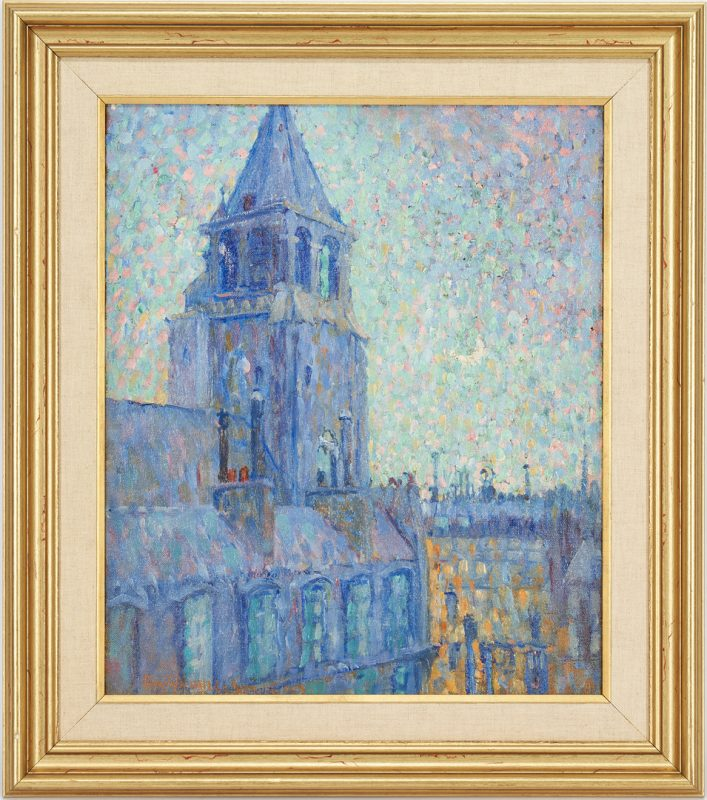 Lot 372: Emily Nichols Hatch Impressionist Oil on Canvas, City Tower at Nightfall