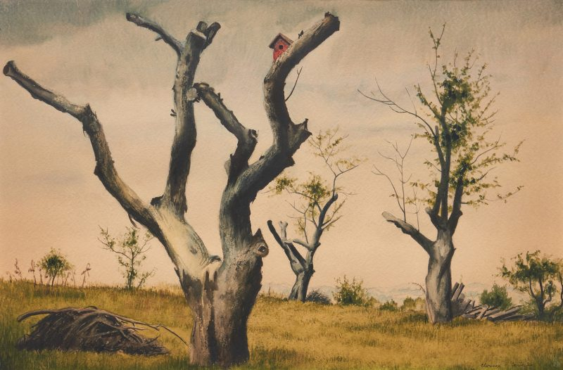 Lot 373: Clarence H. Carter W/C Painting, Trees in a Field