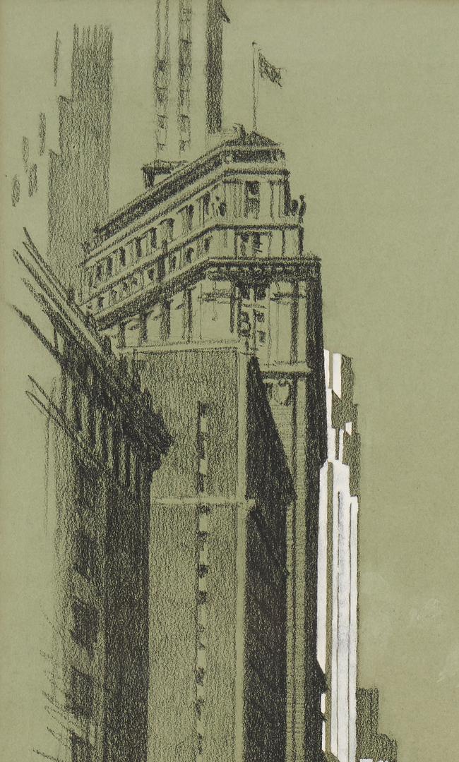 Lot 374: Alonzo C. Webb Charcoal & Gouache, Wall Street New York Scene