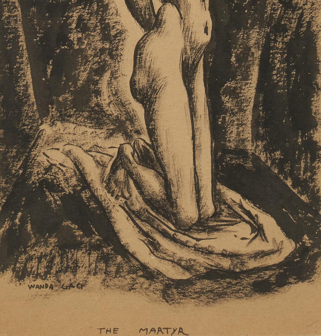 Lot 375: Wanda Gag Ink Wash, The Martyr (Self Portrait)