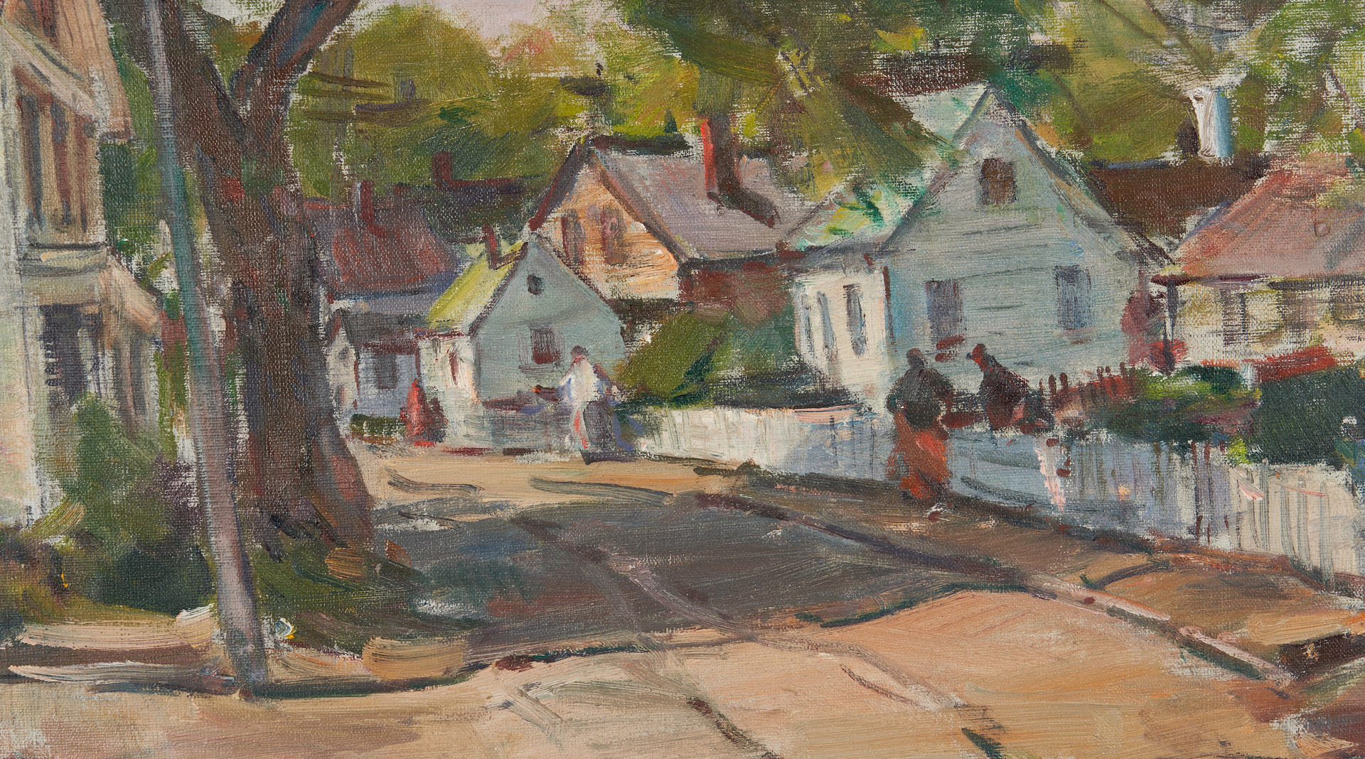 Lot 377: Carl W. Peters O/C Painting, Pleasant St.-Rockport