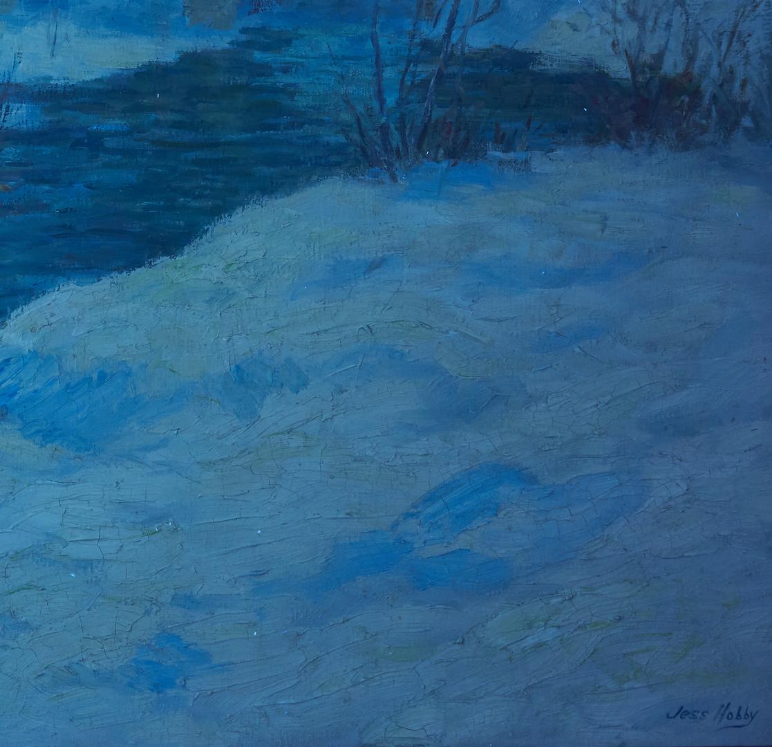 Lot 381: Jesse Hobby Oil on Canvas Snow Landscape