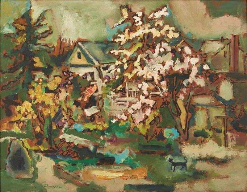 Lot 382: Sterling Strauser O/B, Suburban Landscape w/ Cat