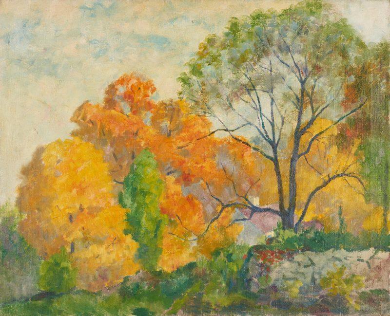 Lot 386: Attr. Bernhard Gutmann O/C Painting, Autumn Landscape