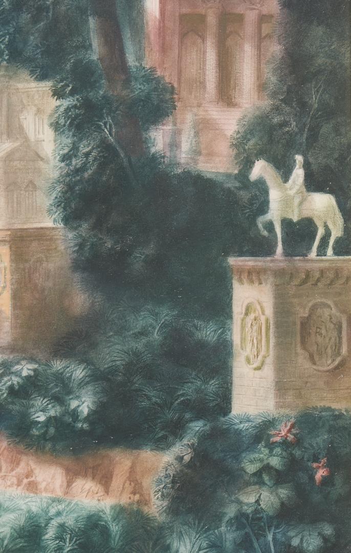 Lot 389: Harold Hitchcock Watercolor, An Arthurian City
