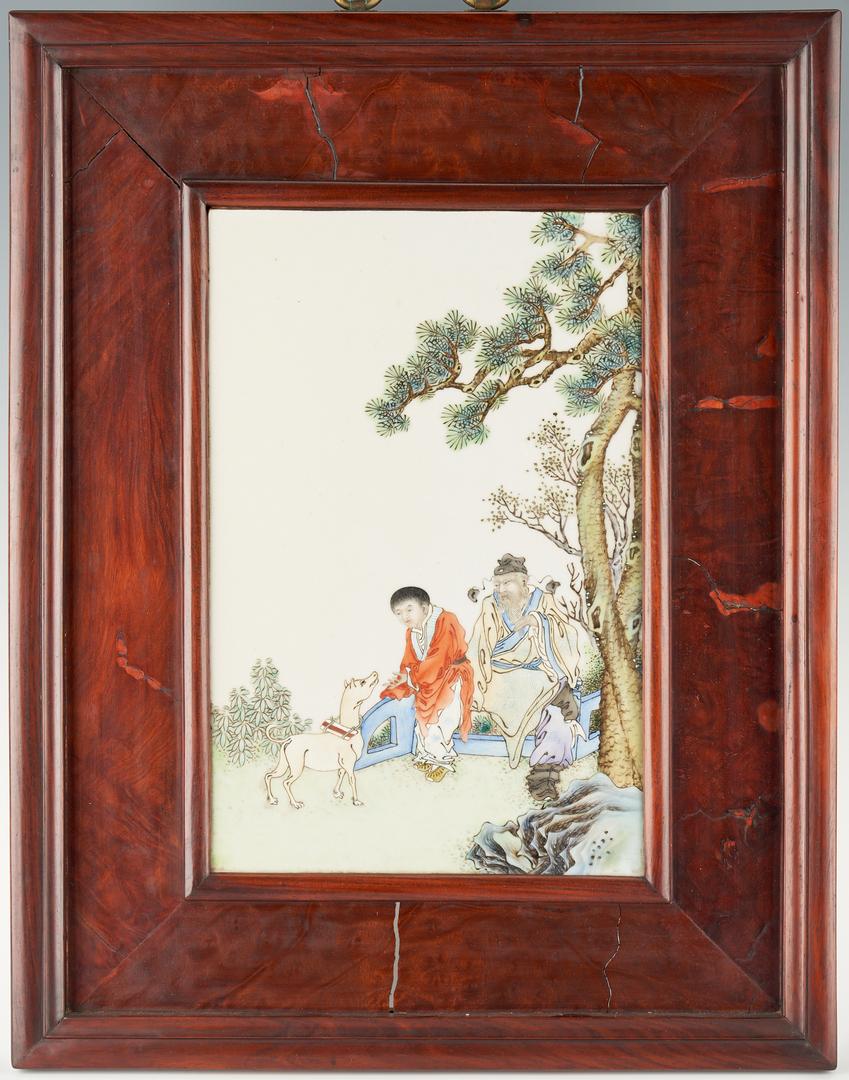Lot 38: Framed Republic Chinese Porcelain Plaque
