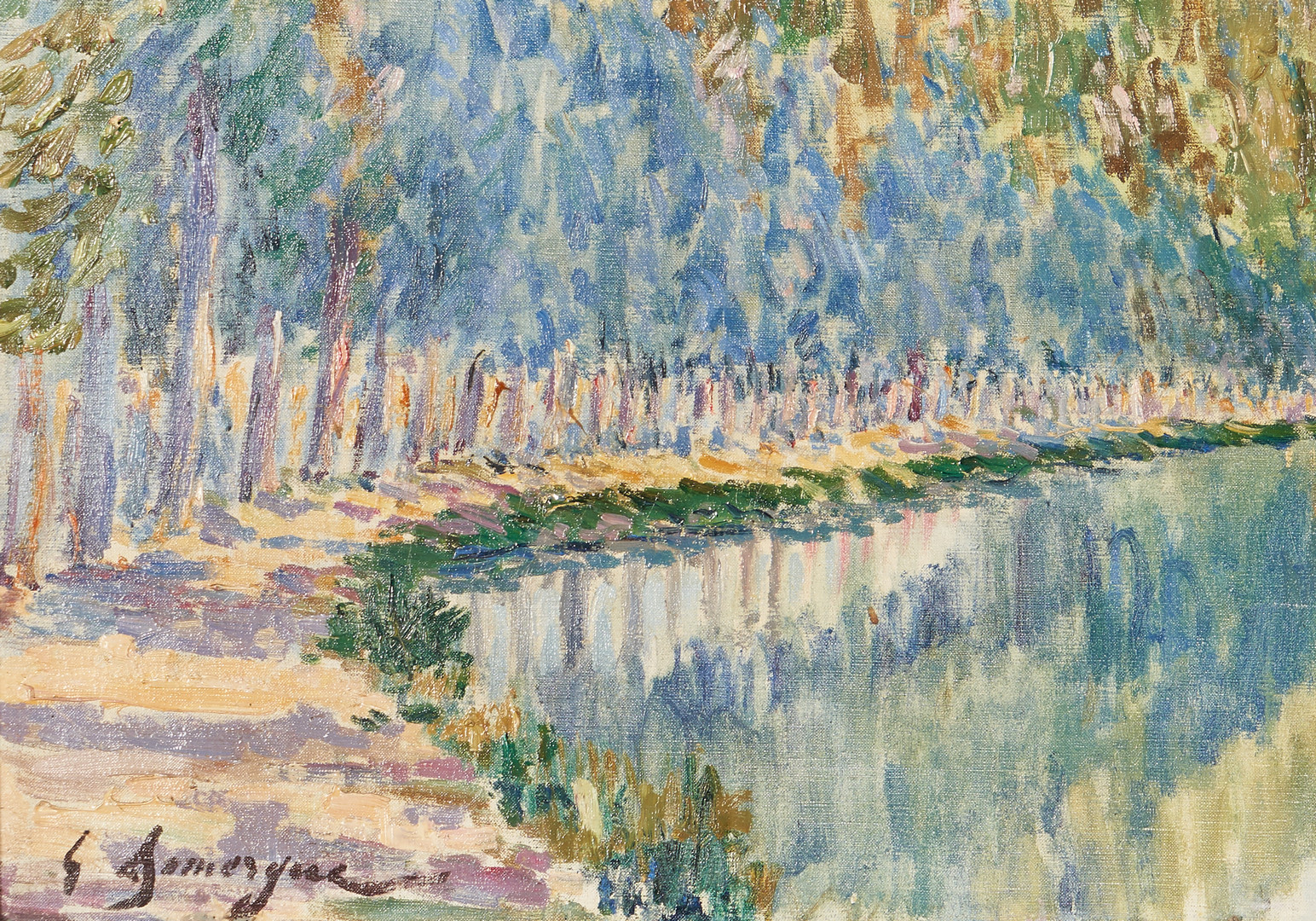 Lot 395: Gaston Domergue O/C Parisian Landscape, Canal St. Martin