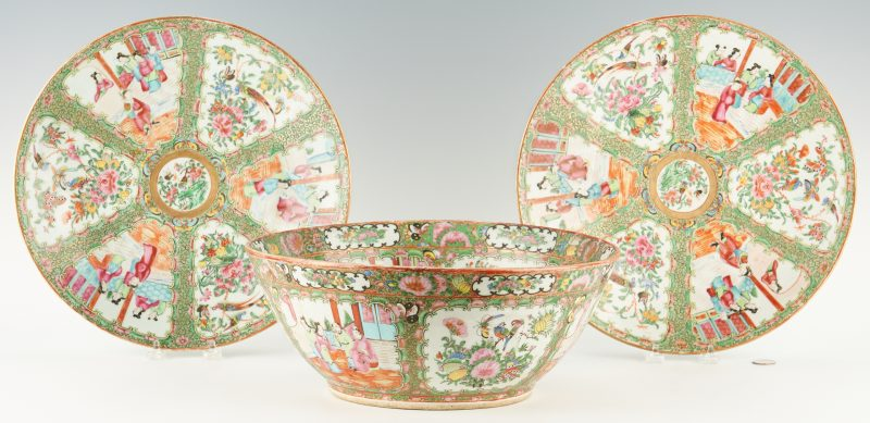 Lot 39: Chinese Export Rose Medallion Punch Bowl, Chargers, 3 items