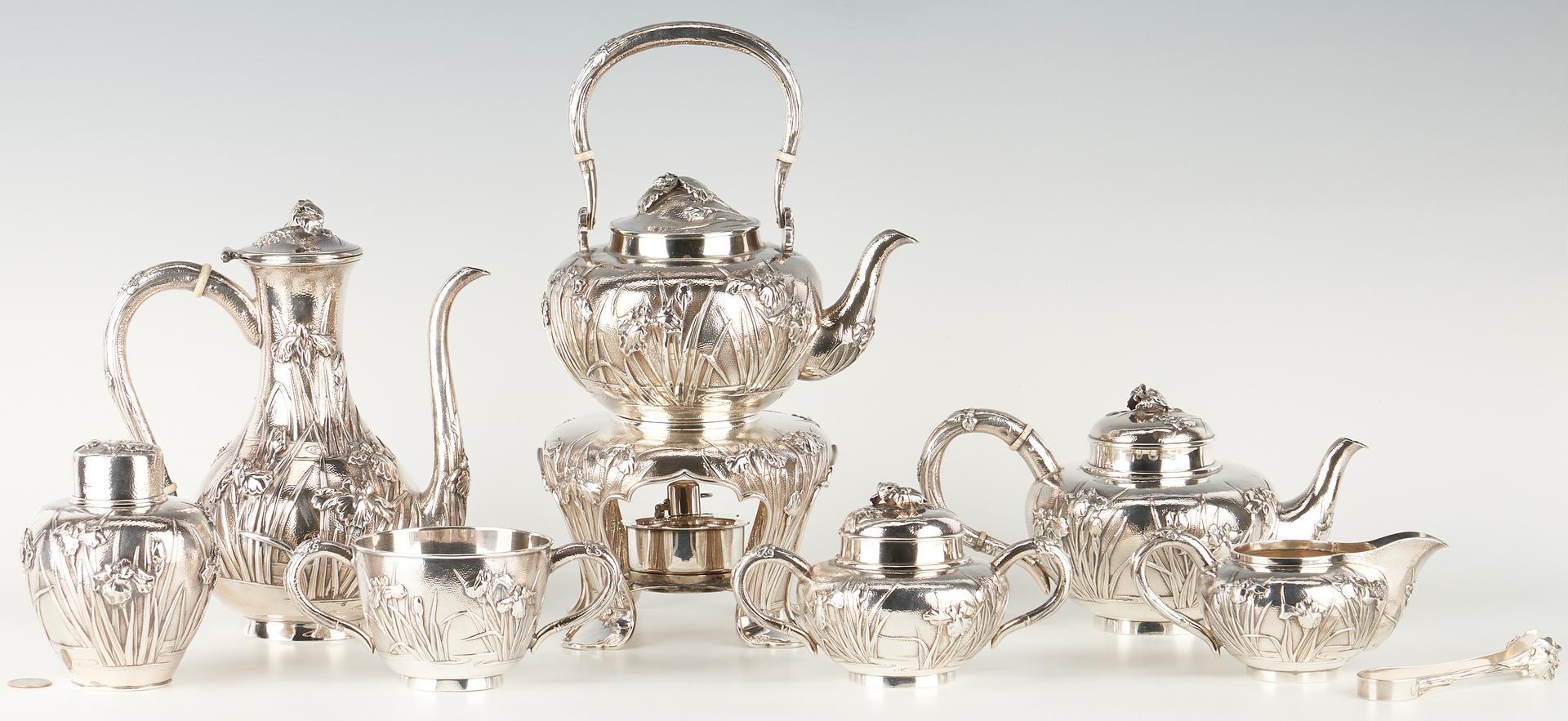 Lot 3: 8 pcs. Meiji Japanese Silver Tea Set, Iris Decoration