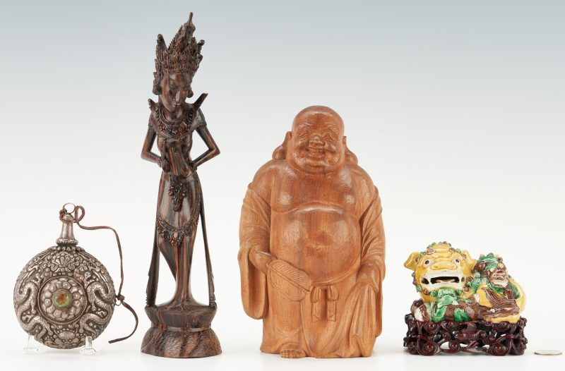 Lot 404: 4 Asian Decorative Items, incl. Tibetan Silver Flask