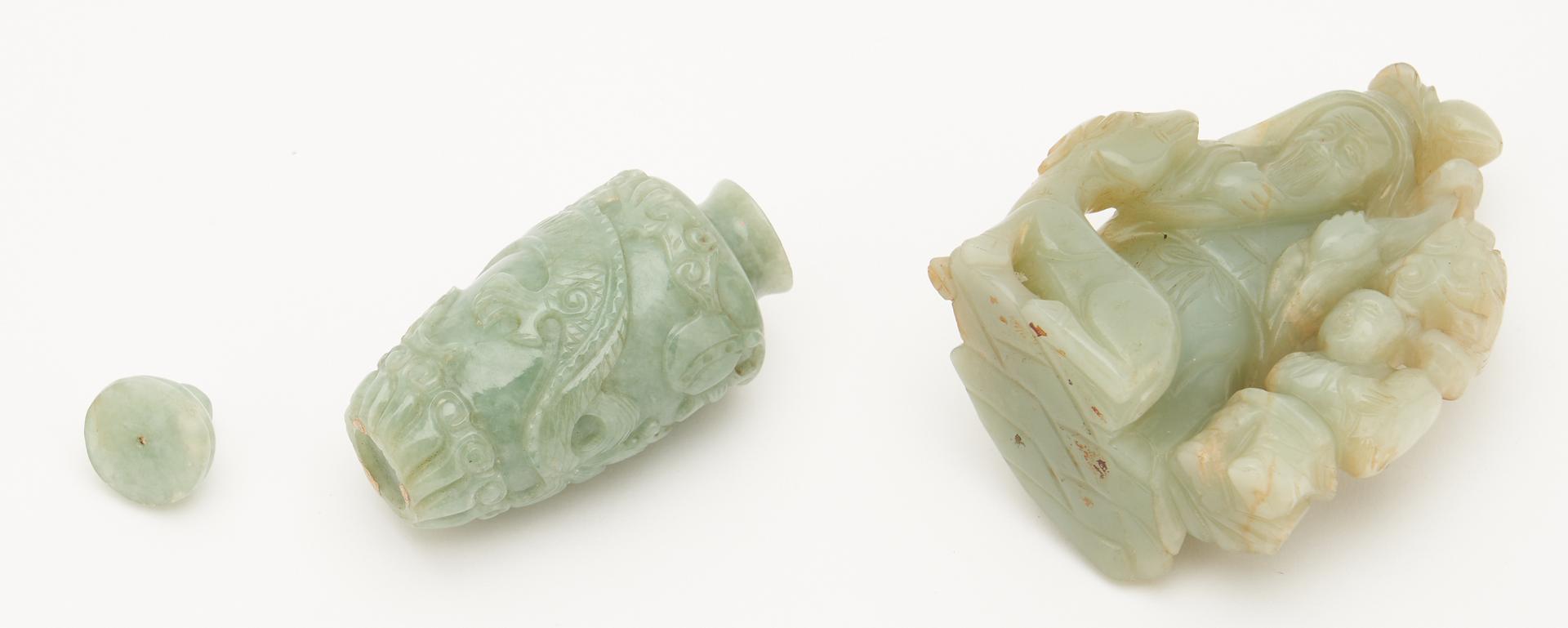 Lot 405: 2 Chinese Celadon Jade Items, Immortal & Snuff Bottle