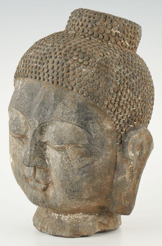 Lot 407: Carved Stone Buddha Head