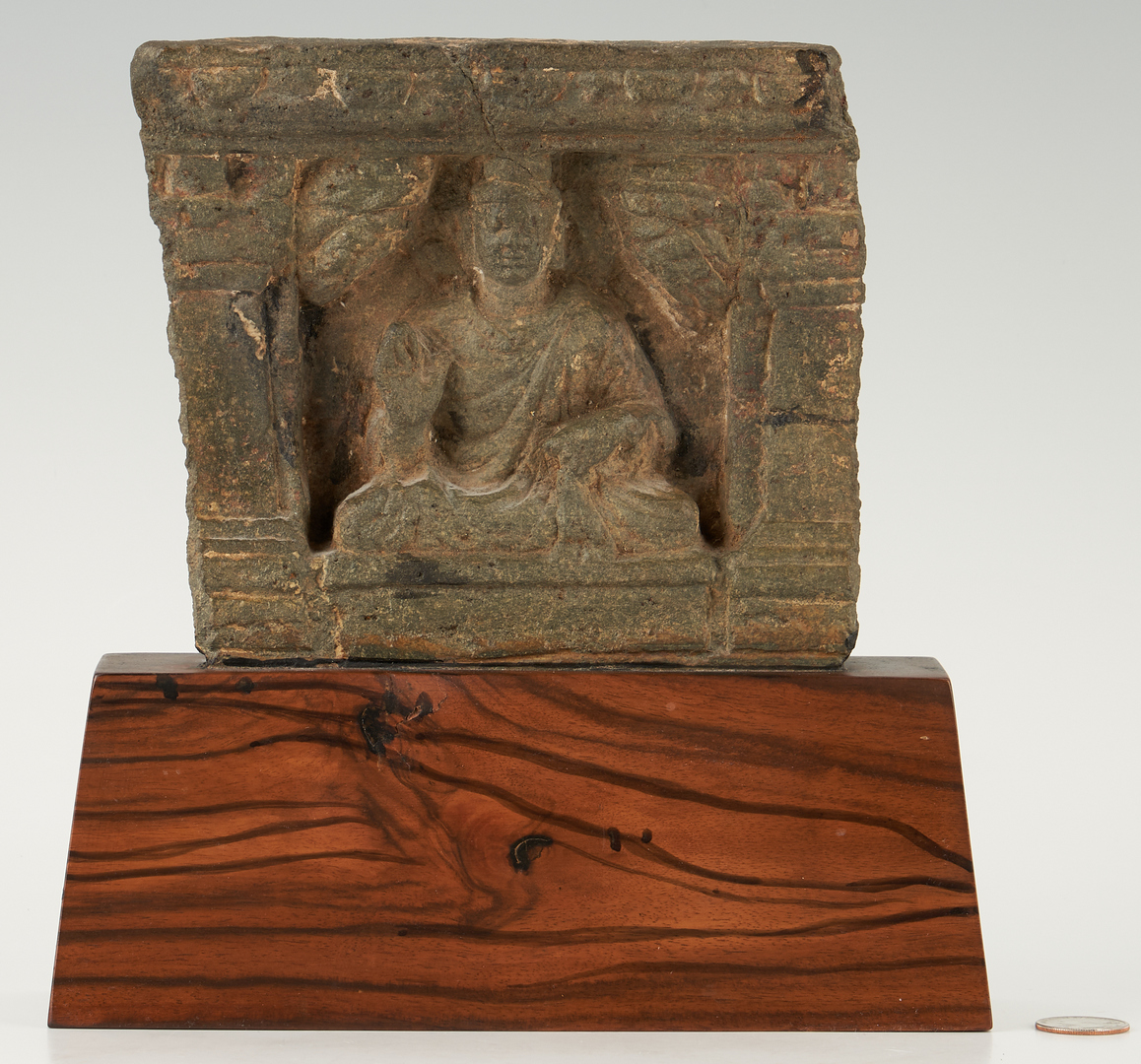 Lot 409: Asian Carved & Mounted Stone Buddha Plaque