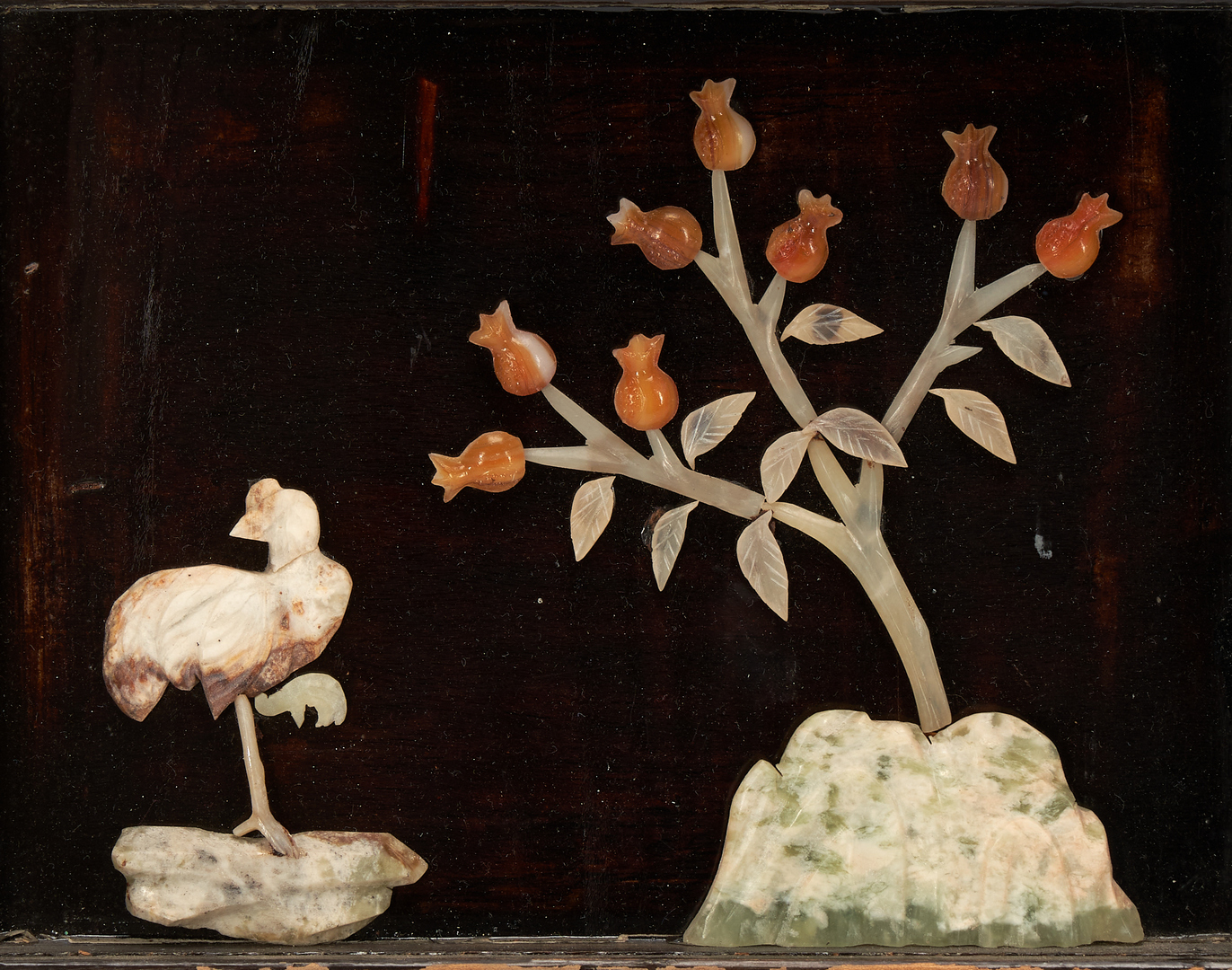 Lot 411: Chinese Hardstone & Lacquer Painted Four Seasons Screen
