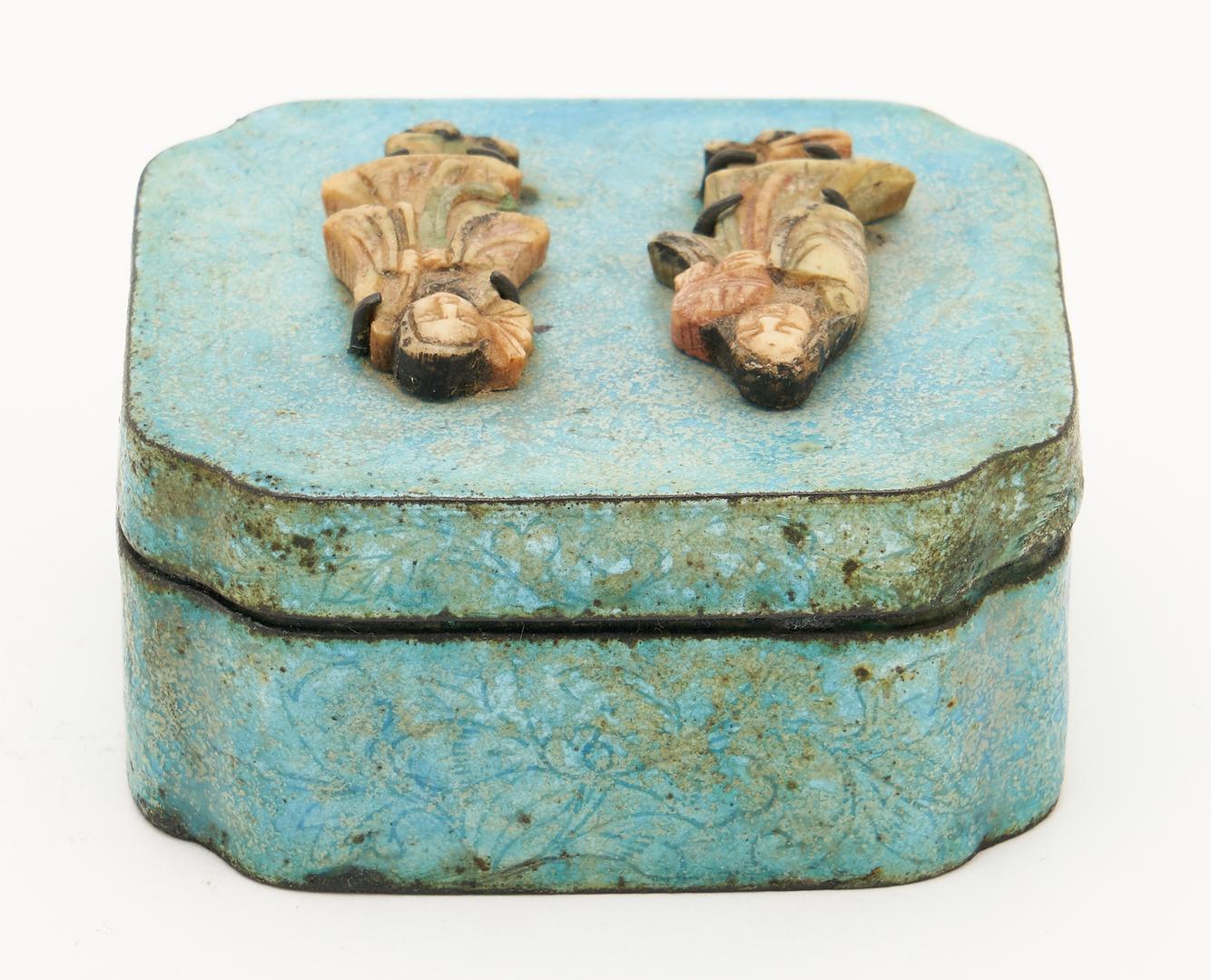 Lot 414: 3 Chinese Decorative Items, Bronze Buddha, Fu Dog Seal, & Enameled Box