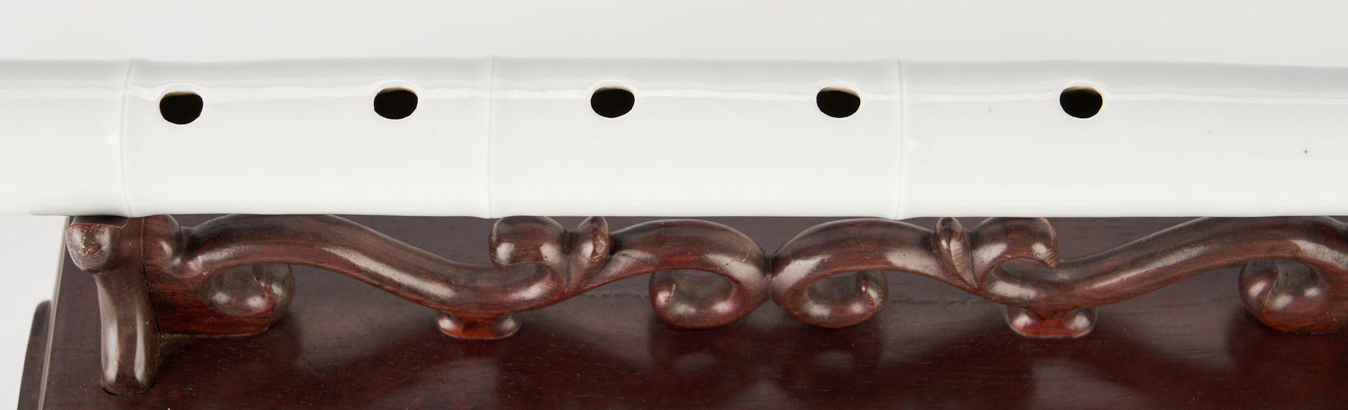 Lot 41: Chinese White Porcelain Flute w/ Stand