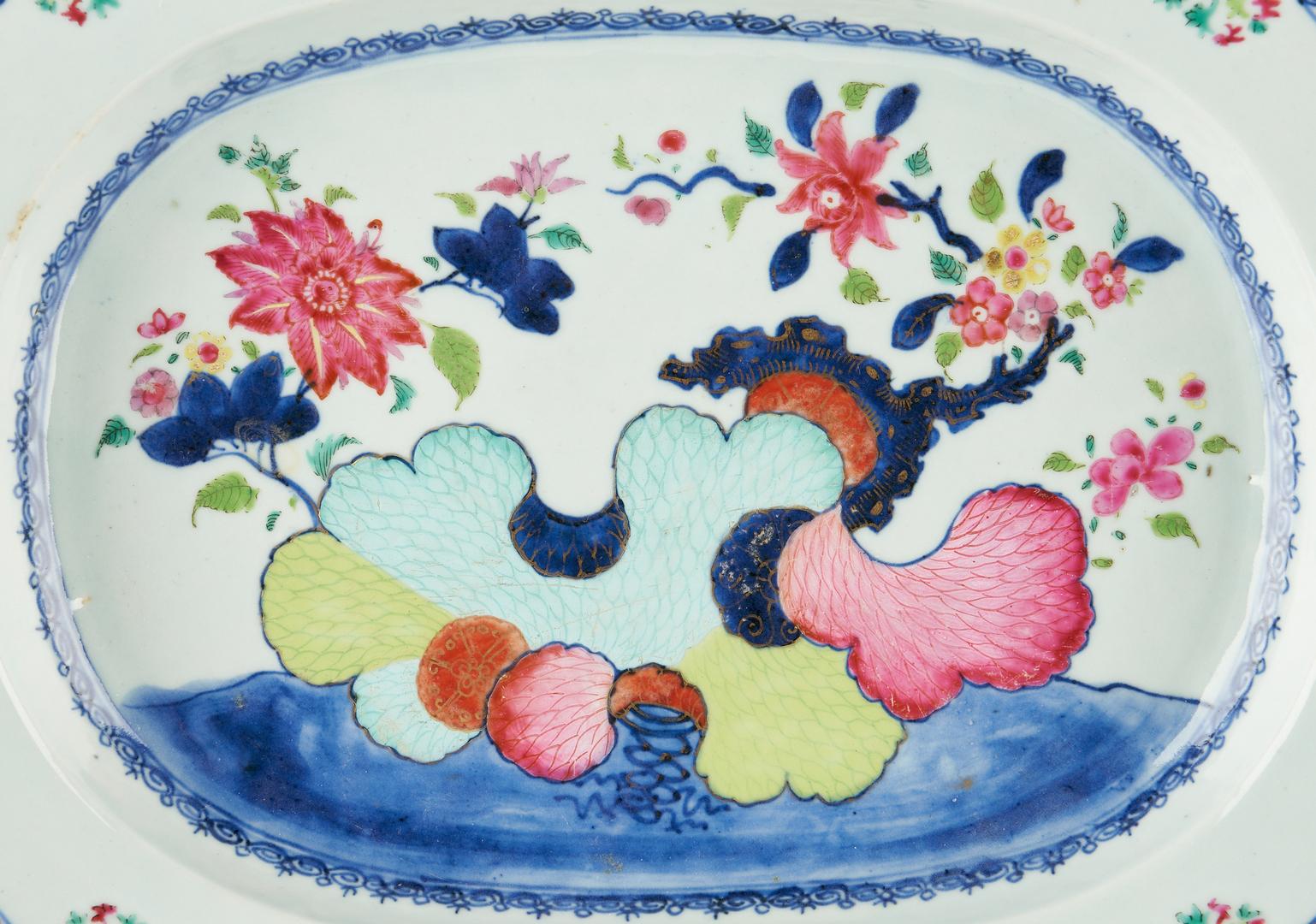 Lot 420: 2 Chinese Porcelain Lamps & Porcelain Platter, 3 items