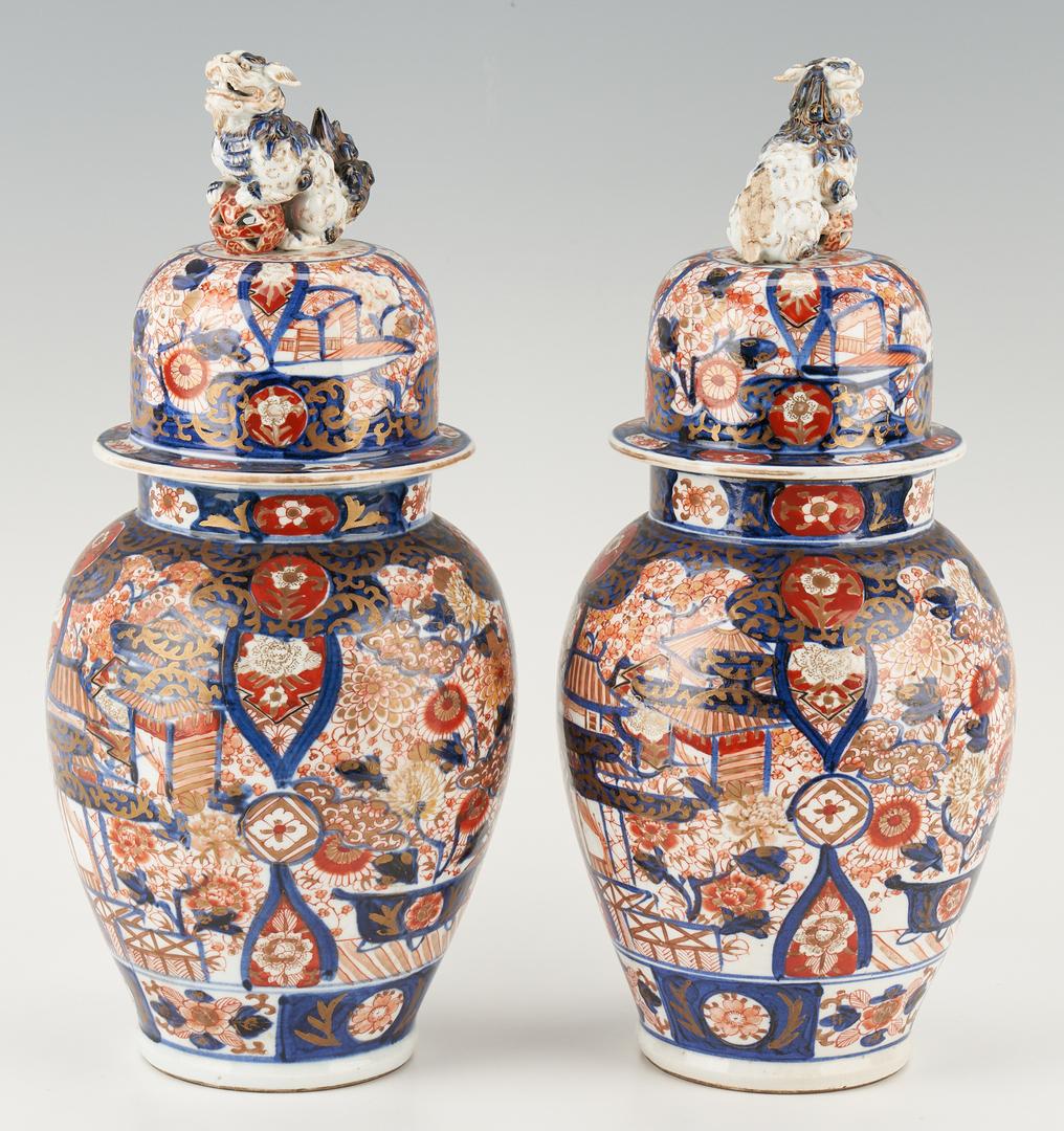 Lot 428: Pr. Japanese Imari Covered Figural Jars