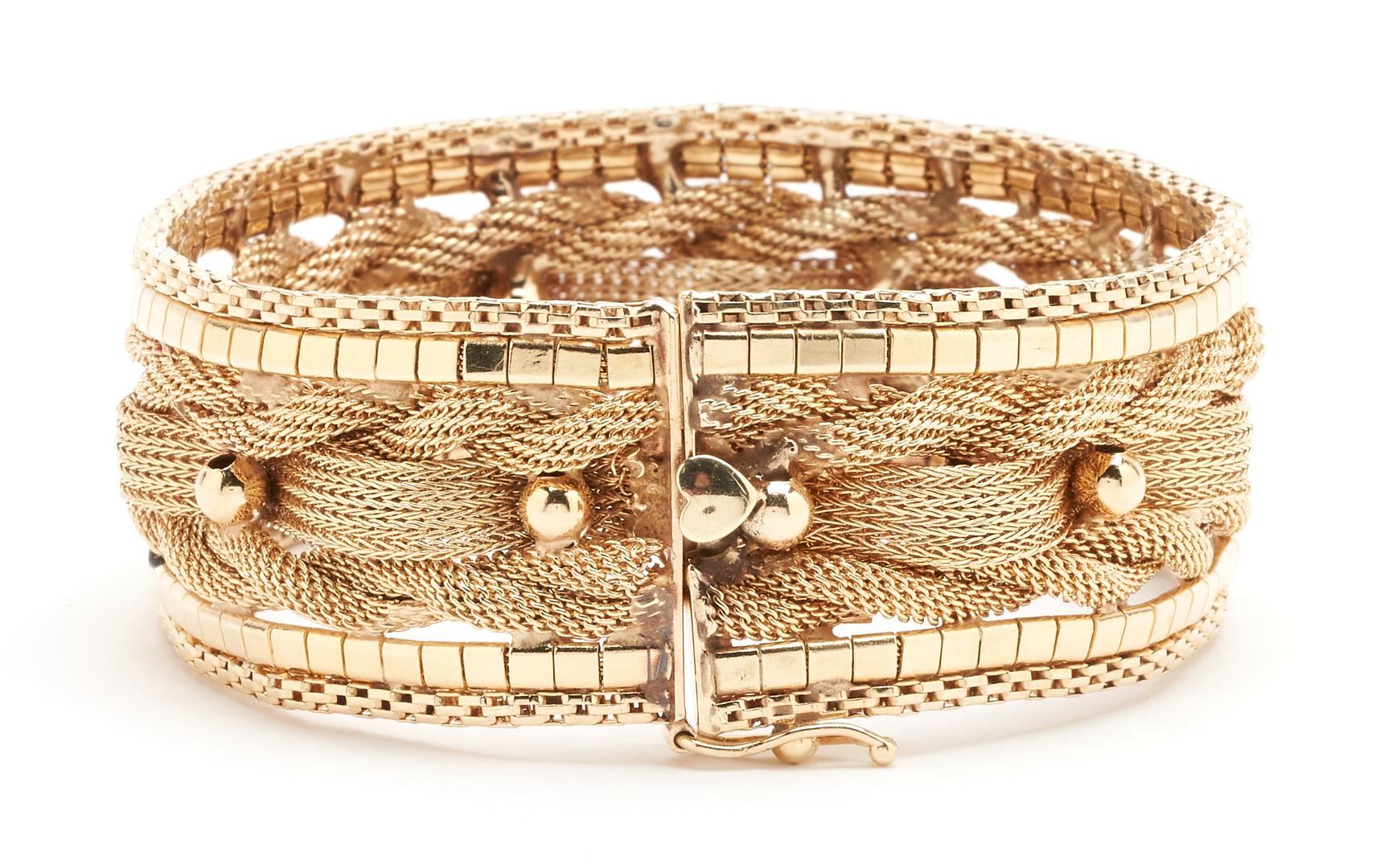 Lot 42: Ladies 14K Woven Gold Bracelet, 51 grams