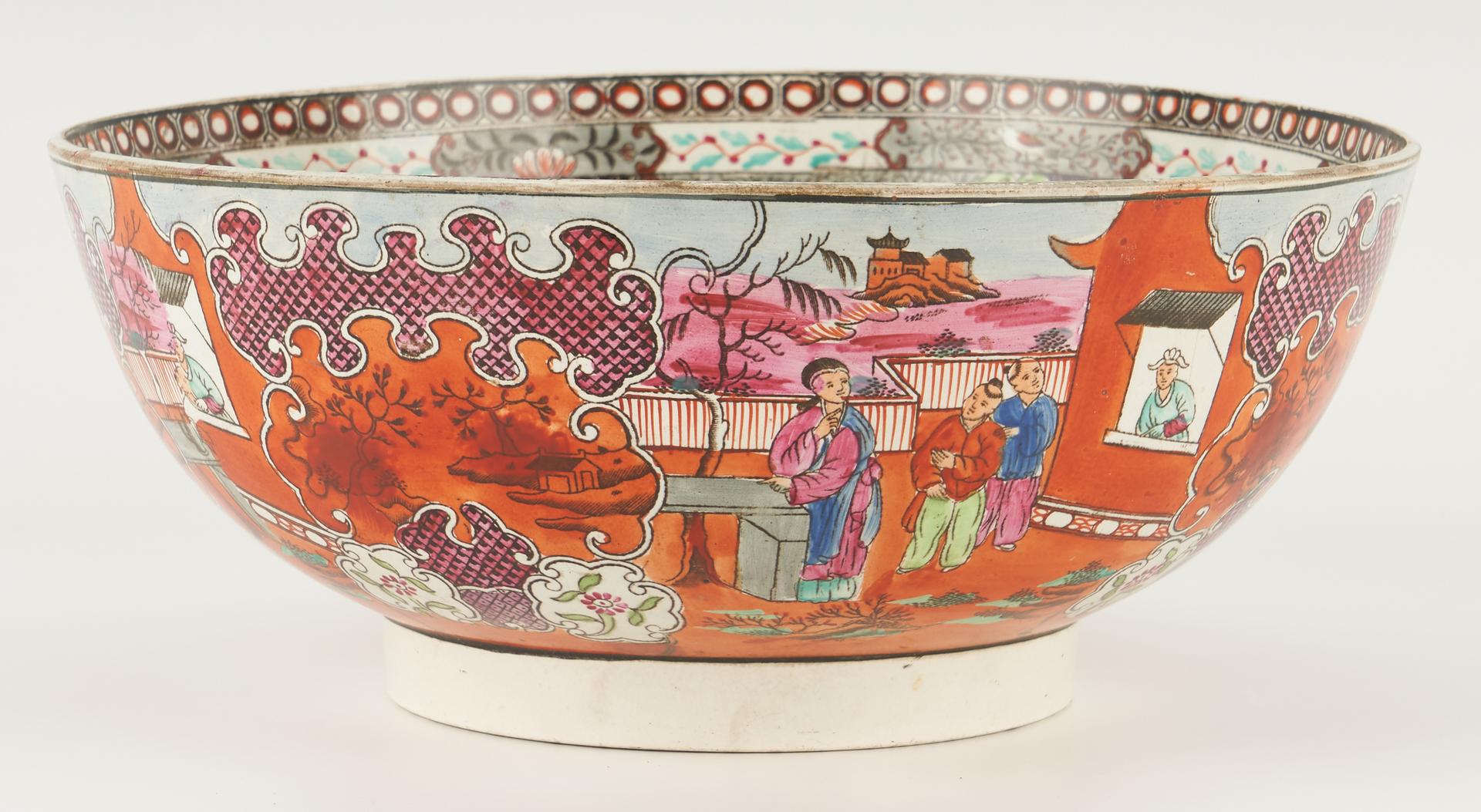 Lot 431: English Porcelain Punch Bowl & Chinese Gilt Panel