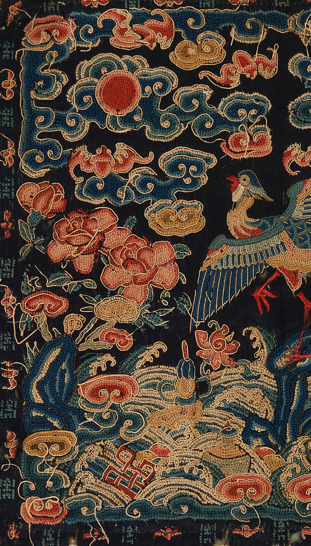 Lot 432: Framed Chinese Silk Robe & Court Badge, 2 items