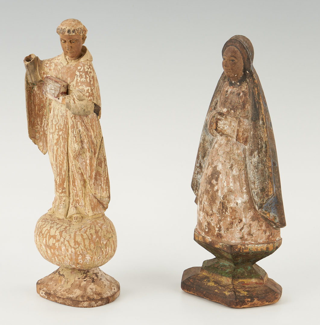 Lot 439: 4 Spanish Colonial Carved Santos Figures