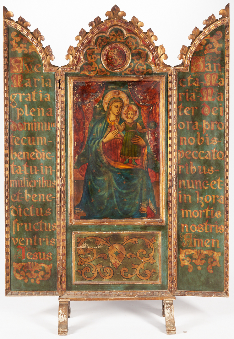 Lot 444: Gothic style Altarpiece Triptych Floor Screen, Madonna and Child