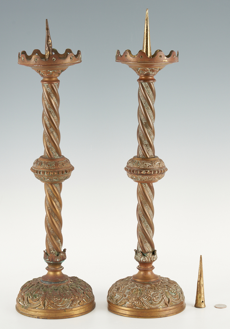 Lot 445: Pair Large Continental Bronze Altar Candlesticks
