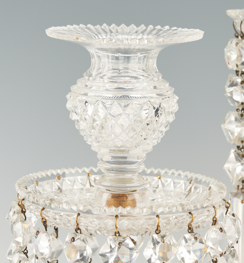 Lot 446: Pair French Ormolu and Crystal Candelabra, Baccarat Style