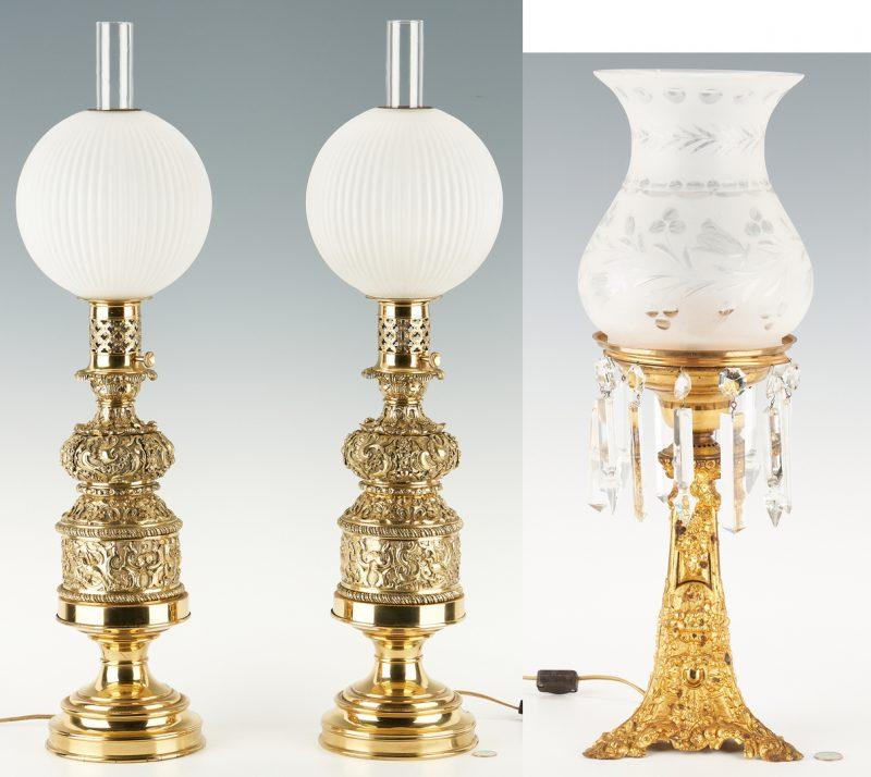 Lot 448: Gilt Bronze Astral Lamp & Gilt Bronze Oil Lamps, 3 items