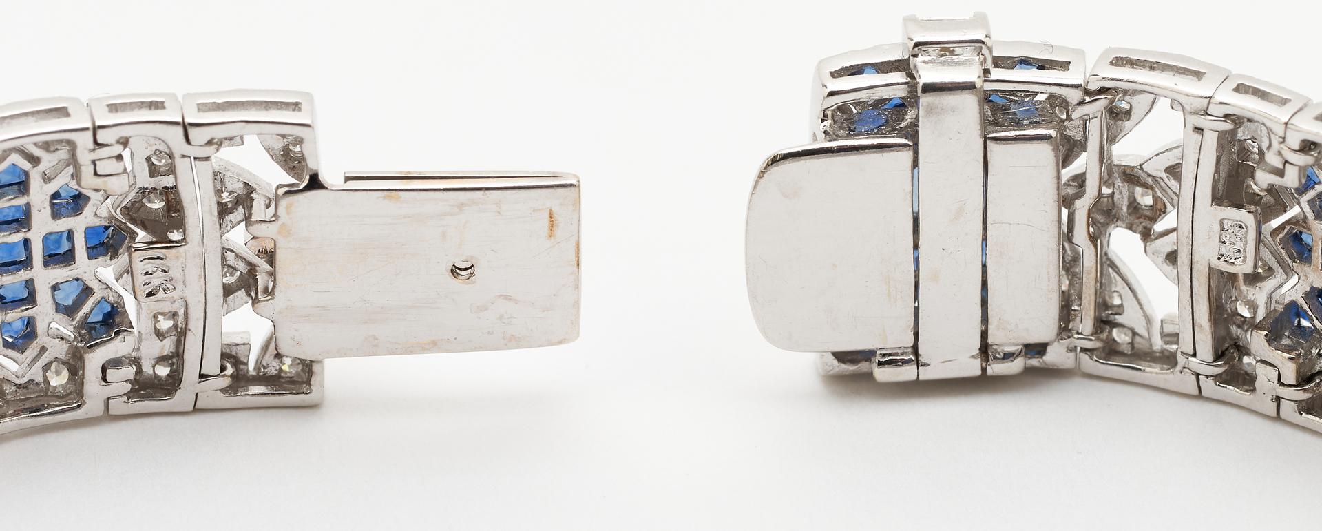 Lot 44: 14K Art Deco Diamond & Sapphire Bracelet