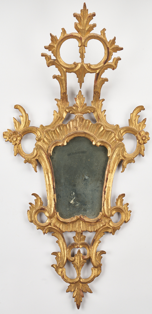 Lot 451: 2 Early Continental Giltwood Wall Mirrors, Rococo & Queen Anne