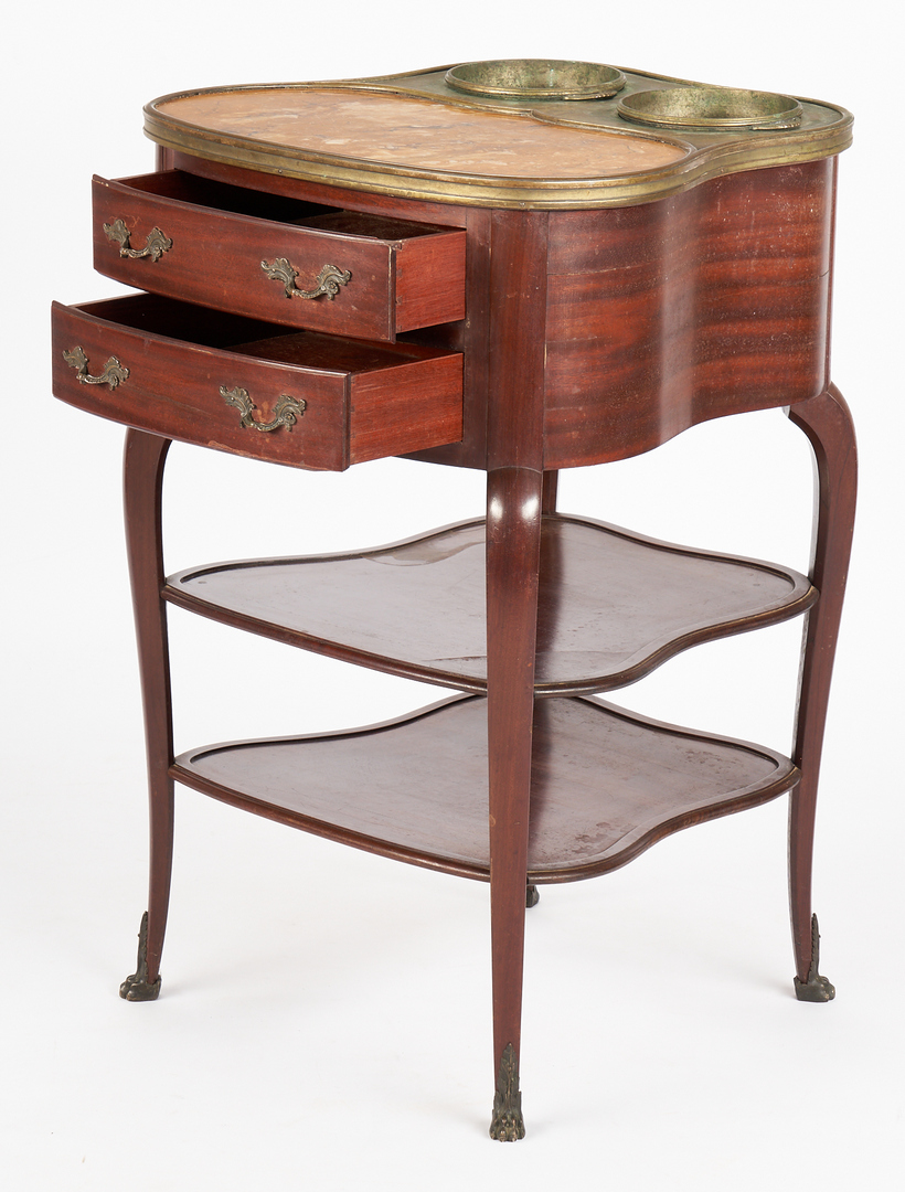 Lot 452: French Marble & Mahogany Wine-Tasting Table