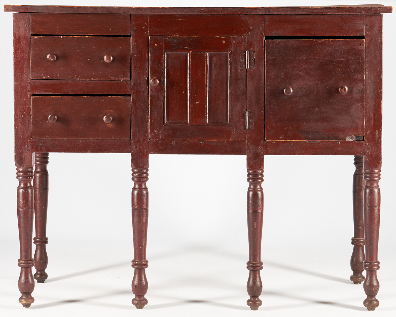 Lot 465: Southern Sheraton Red Painted Sideboard or Huntboard
