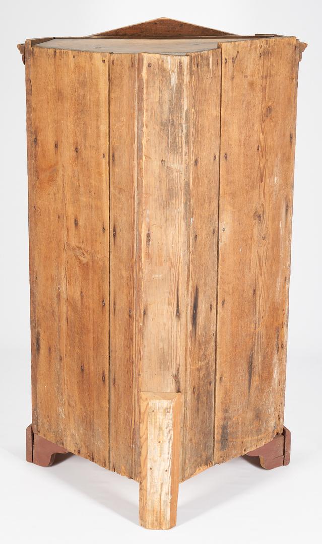 Lot 468: Southern Painted Yellow Pine Diminutive Corner Cupboard
