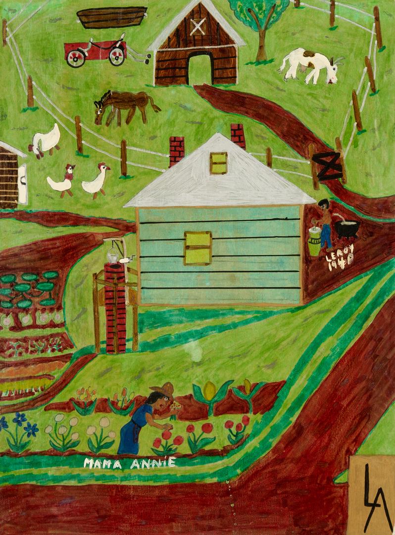 Lot 478: Leroy Almon Autobiographical Bi-fold Painting