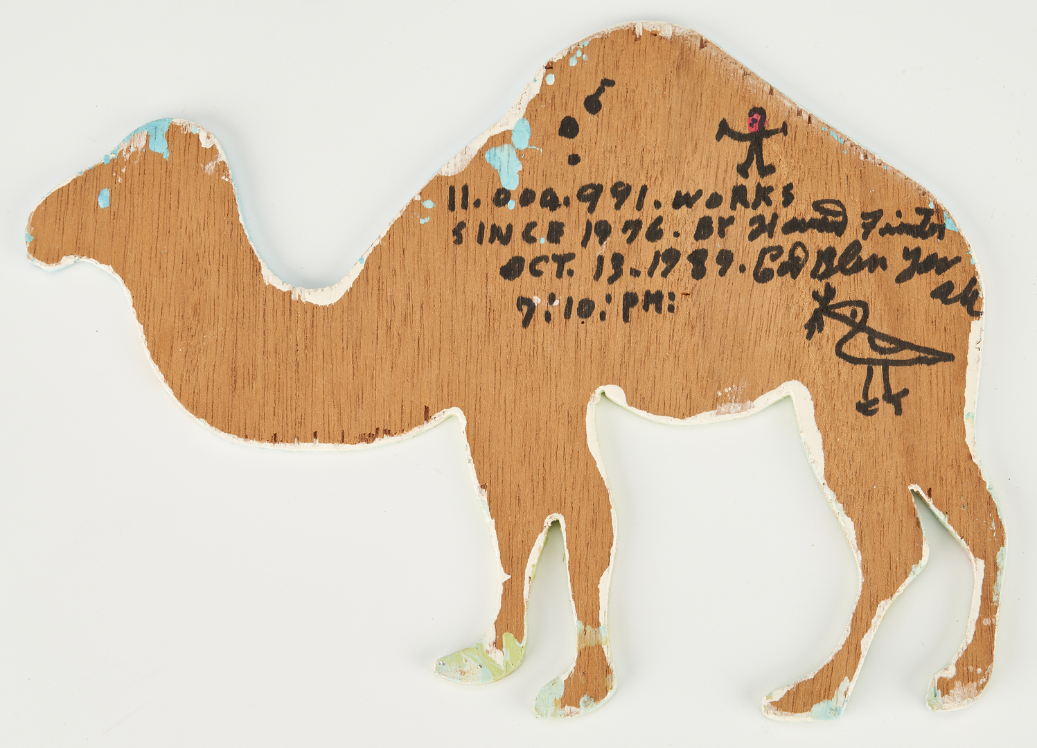 Lot 480: Finster Outsider Art Plaque, Camel and Dragon