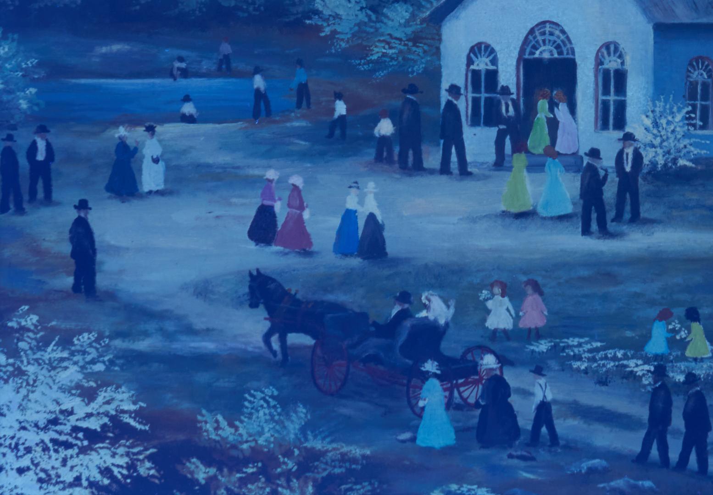 Lot 482: Rosa Brooks Beason KY Folk Art Amish Church Scene