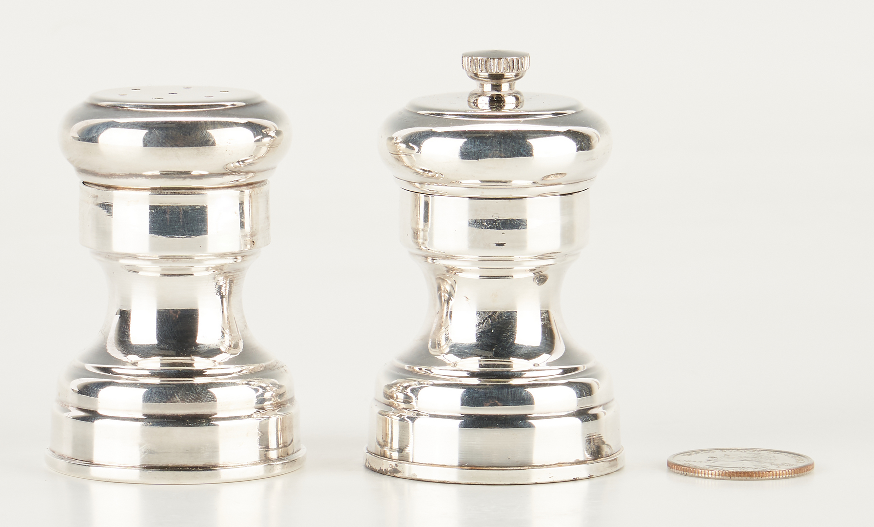 Lot 494: Tiffany & Co. Sterling Silver Salt Shakers & Pepper Grinders, 91 items