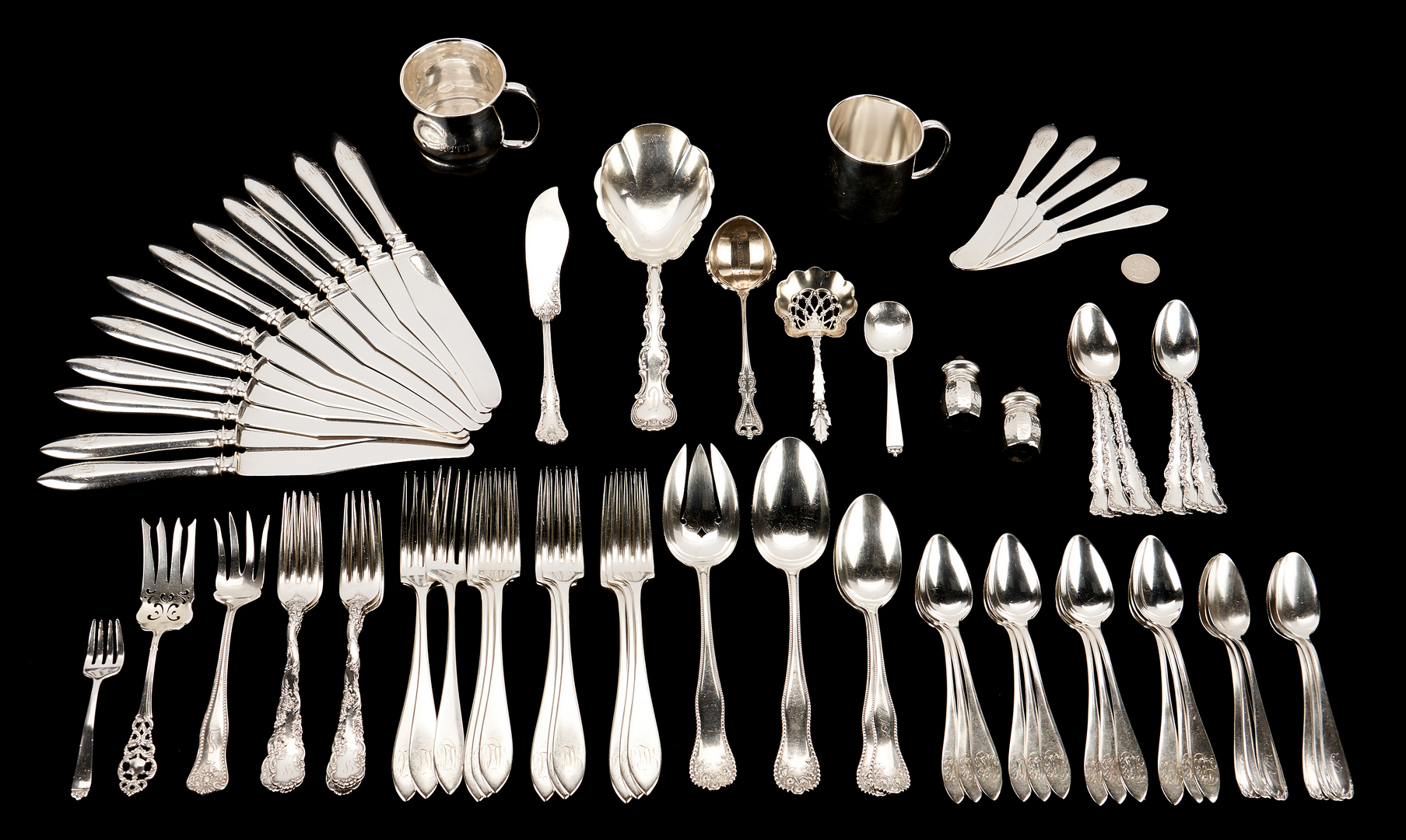 Lot 497: 75 Pcs. Assorted Sterling Silver, incl. Towle, Reed & Barton