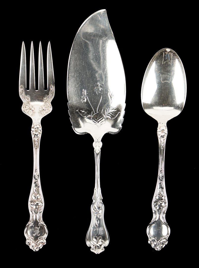 Lot 498: Violet Pattern Sterling Silver Flatware, Wallace & Whiting