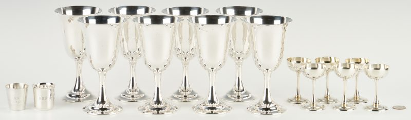 Lot 499: 16 Sterling Goblets and Cups, incl. Lord Saybrook Goblets